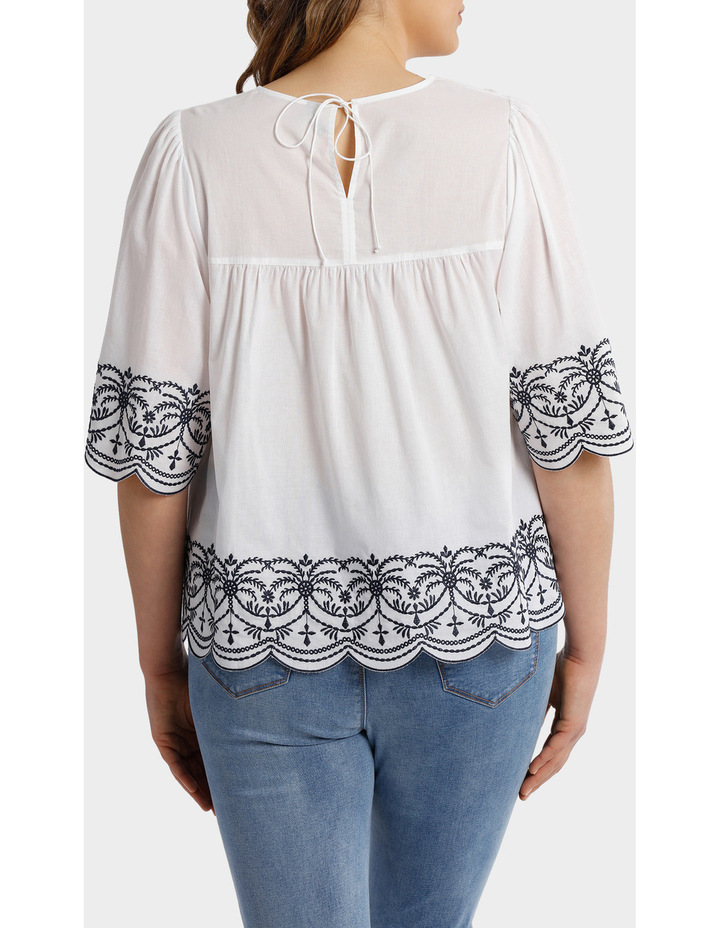 Top with Yoke Embroidery image 3