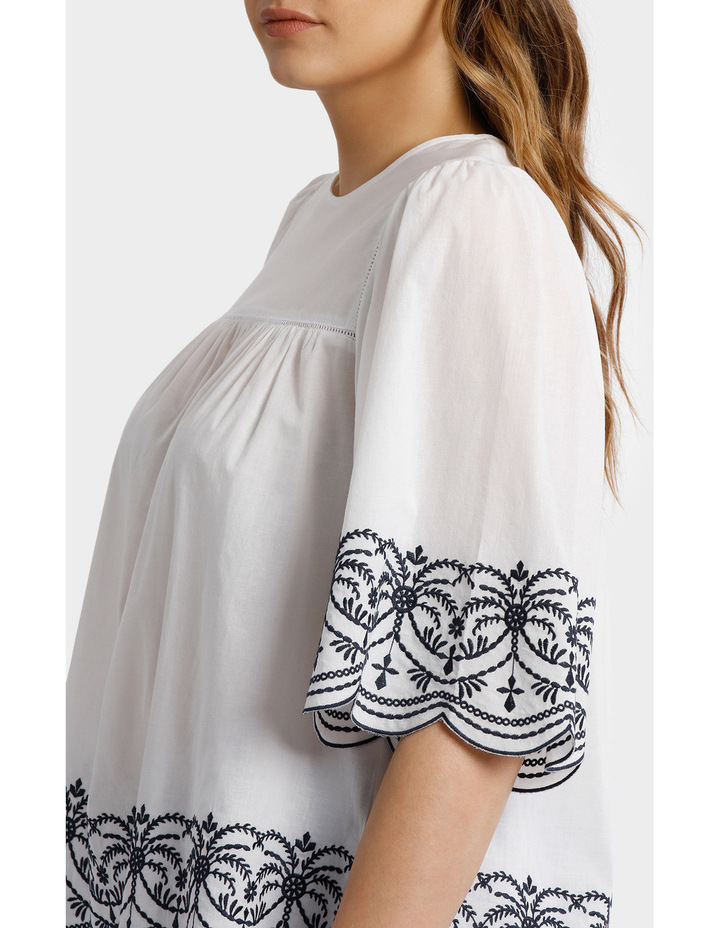 Top with Yoke Embroidery image 4