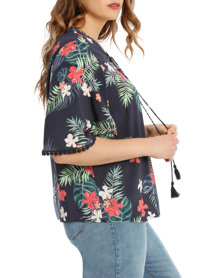 Tropical Frill Sleeve Top image 2