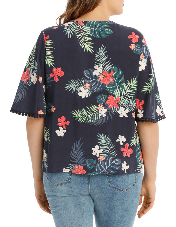 Tropical Frill Sleeve Top image 3