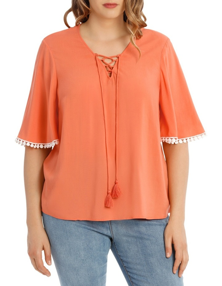 Coral Frill Sleeve Top image 1