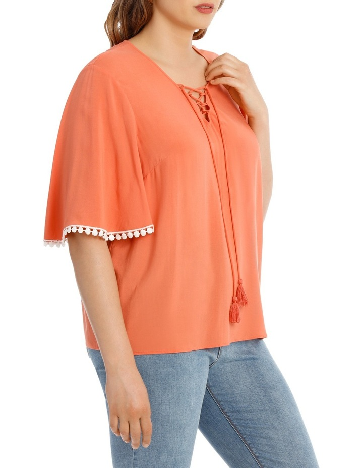 Coral Frill Sleeve Top image 2