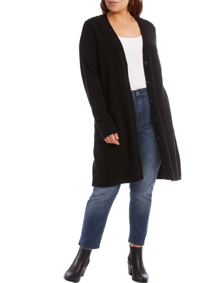 Long Line Cardigan Jersey With Contrast Button image 1