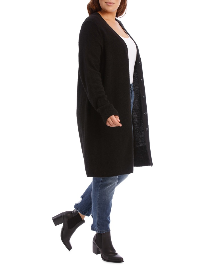 Long Line Cardigan Jersey With Contrast Button image 3