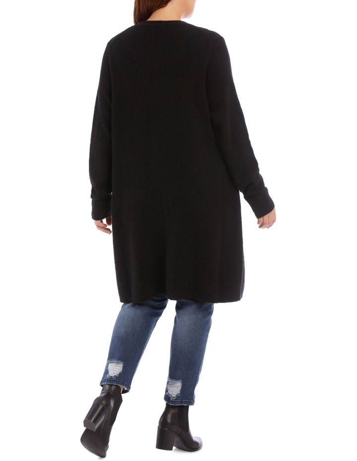 Long Line Cardigan Jersey With Contrast Button image 5