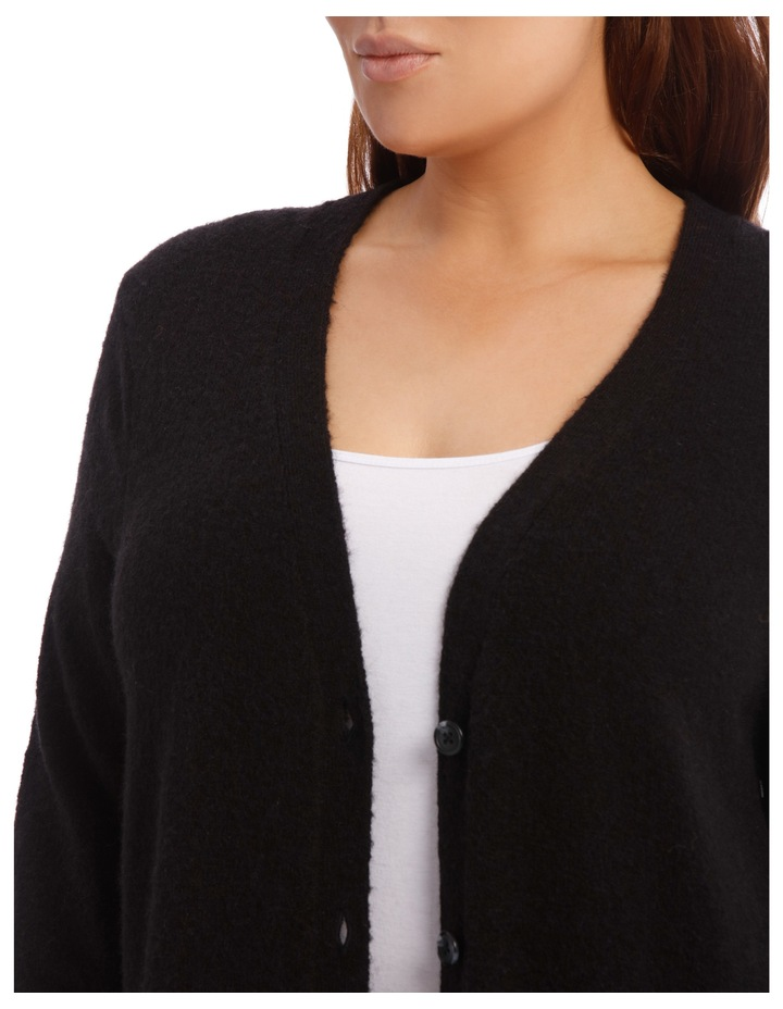 Long Line Cardigan Jersey With Contrast Button image 7