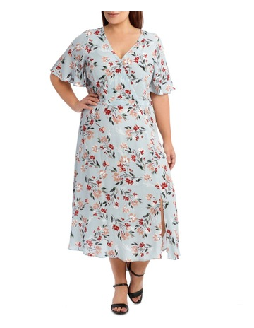 be355e716b Piper 16-22 Mock Wrap Dress With spilit