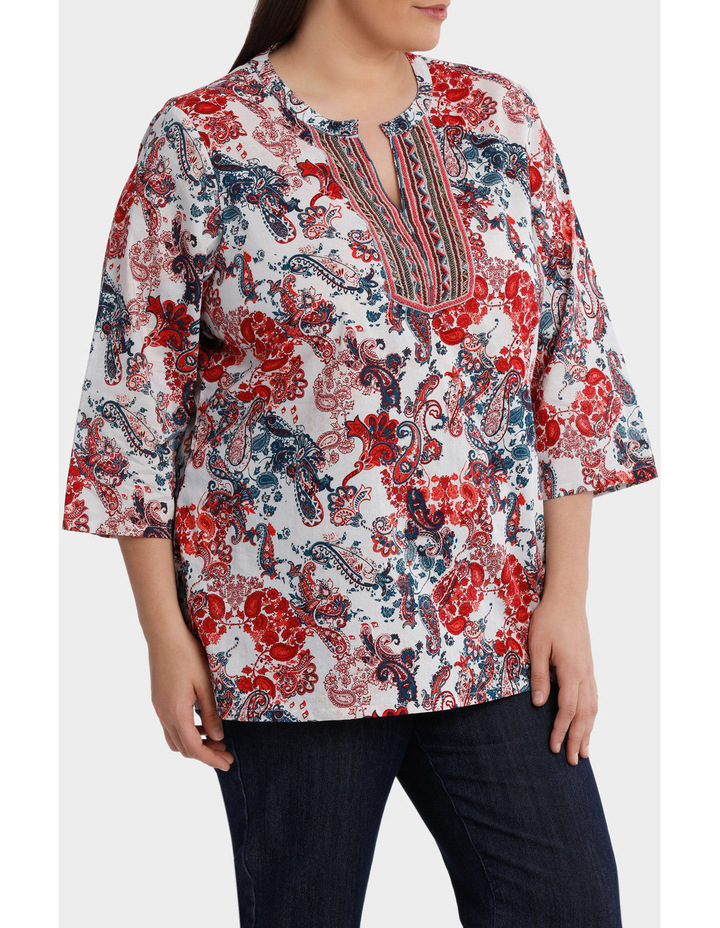 Soft Paisley Beaded 3/4 Sleeve Top image 1