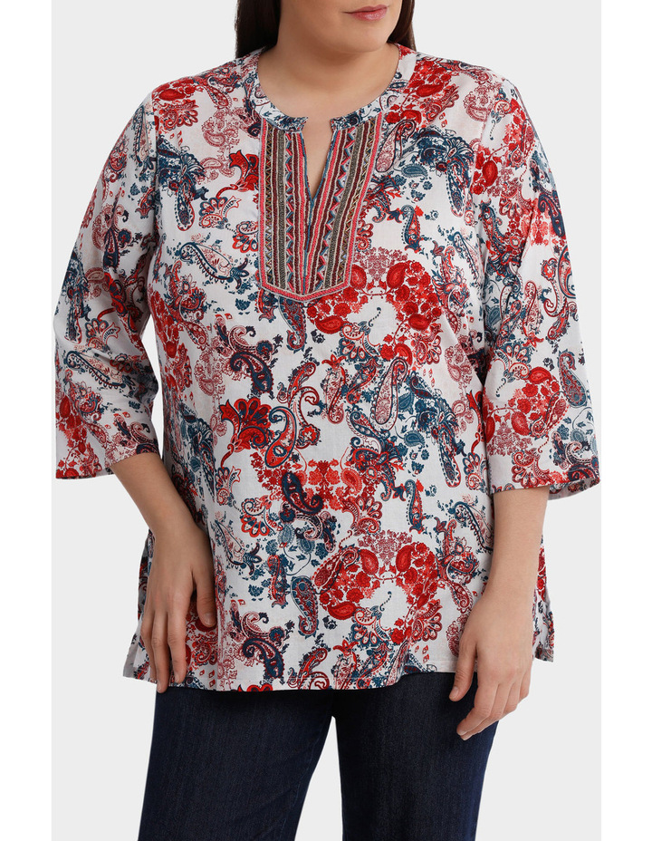 Soft Paisley Beaded 3/4 Sleeve Top image 2