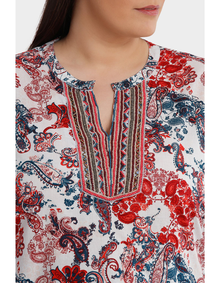 Soft Paisley Beaded 3/4 Sleeve Top image 4