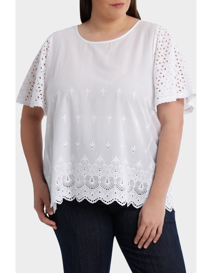 Broderie Solid Short Sleeve Top image 1