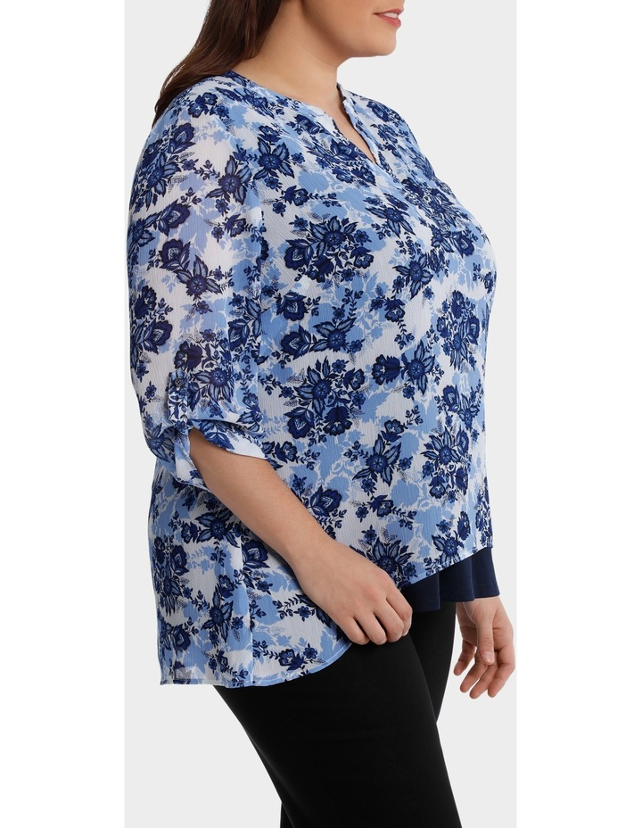 Chinoiserie Floral Layered 3/4 Sleeve Top image 2
