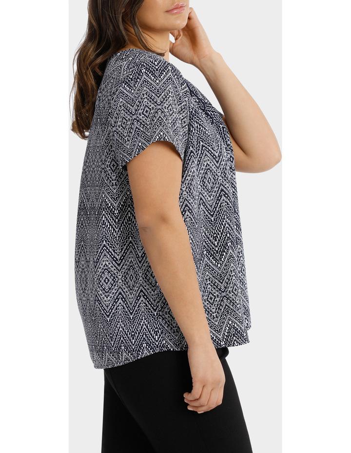 Hot Price Print Tie Neck Short Sleeve Top image 2