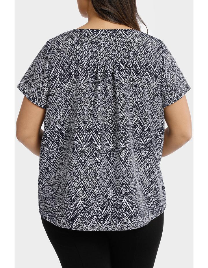 Hot Price Print Tie Neck Short Sleeve Top image 3