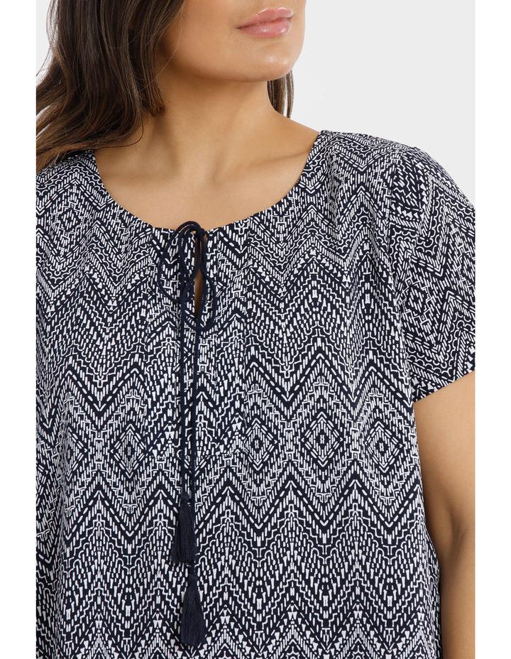 Hot Price Print Tie Neck Short Sleeve Top image 4