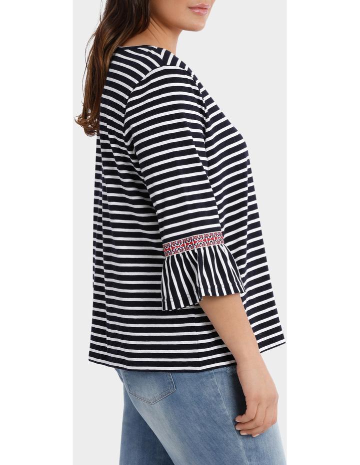 Embroidered Stripe Splice 3/4 Short Sleeve Tee image 2