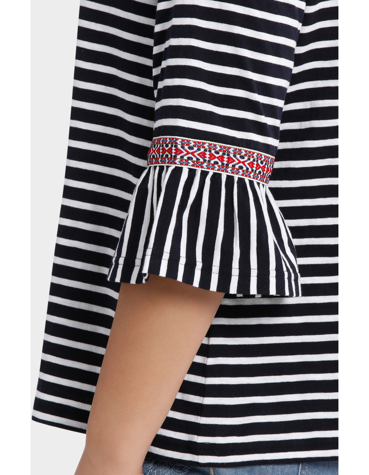 Embroidered Stripe Splice 3/4 Short Sleeve Tee image 4