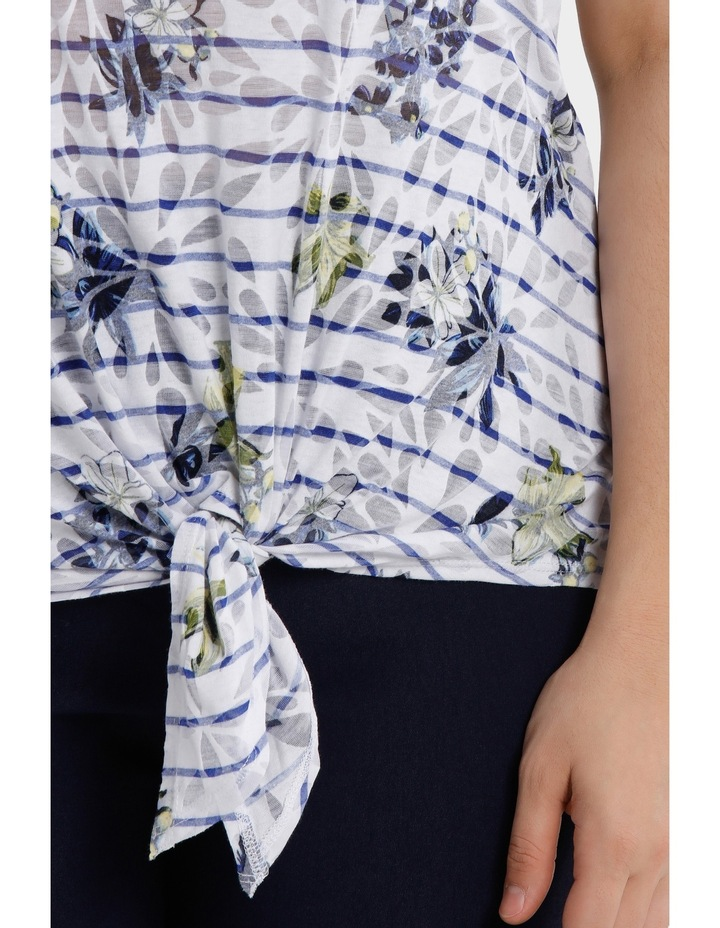 Stripe Tie Front Burnout Short Sleeve Tee image 4