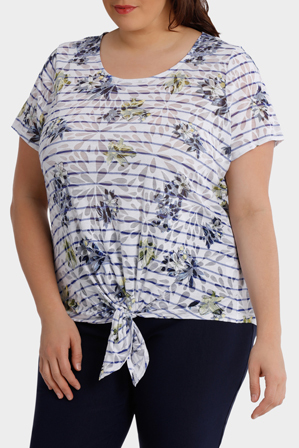 Regatta Woman - Stripe Tie Front Burnout Short Sleeve Tee