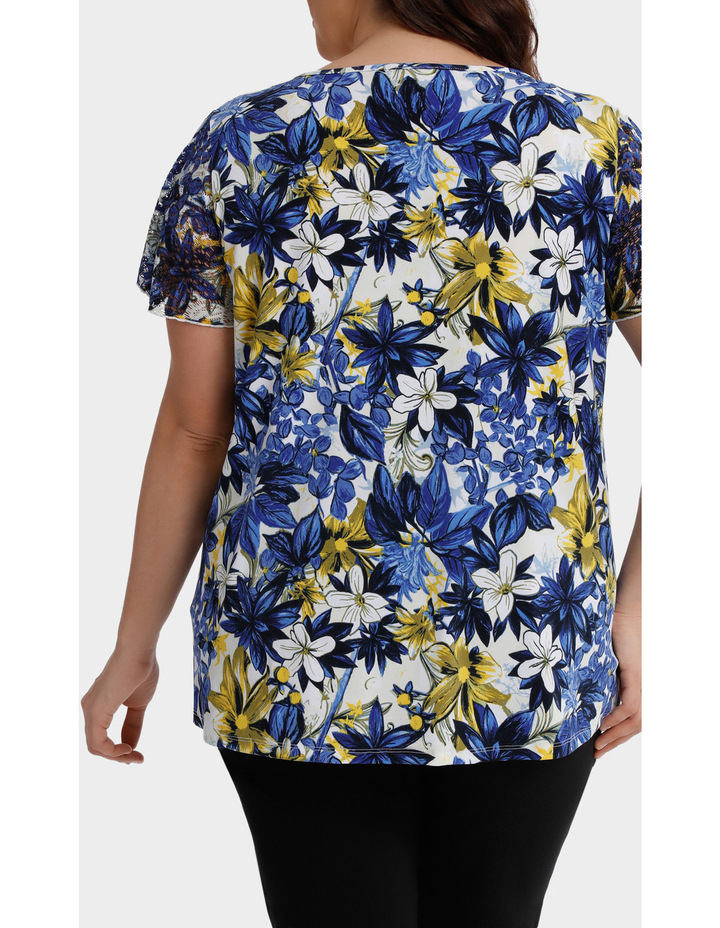Capri Floral Asymmetric Hem Short Sleeve Tee image 3