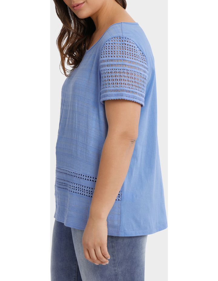 Woven Front / Knit Back Lace Short Sleeve Tee image 2