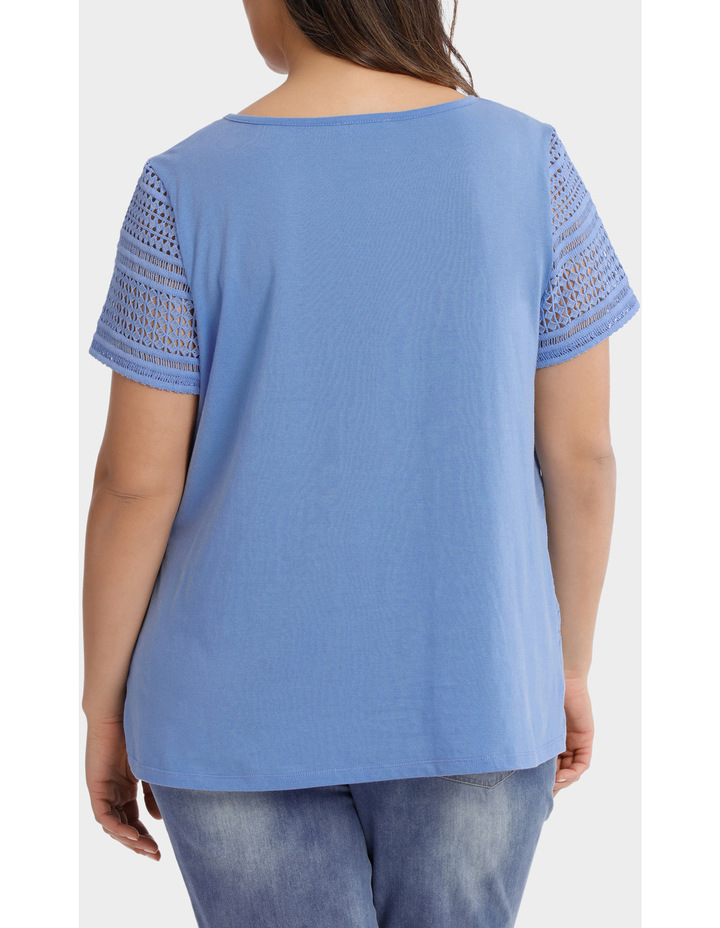 Woven Front / Knit Back Lace Short Sleeve Tee image 3