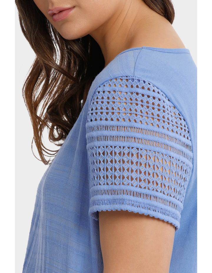 Woven Front / Knit Back Lace Short Sleeve Tee image 4