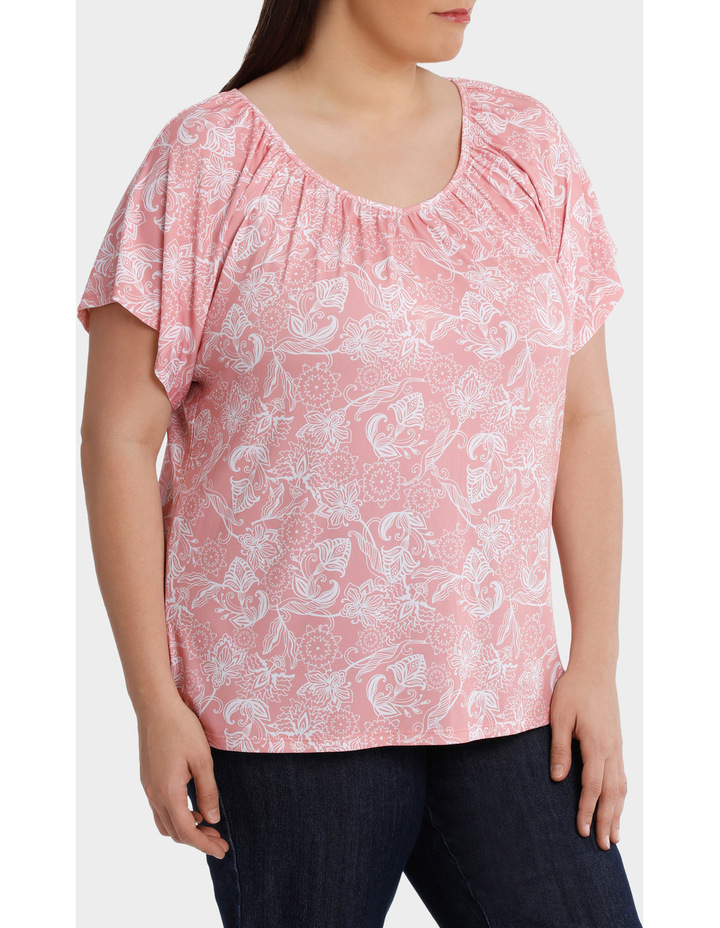 Hot Price Print Jersey Flutter Sleeve Tee image 2
