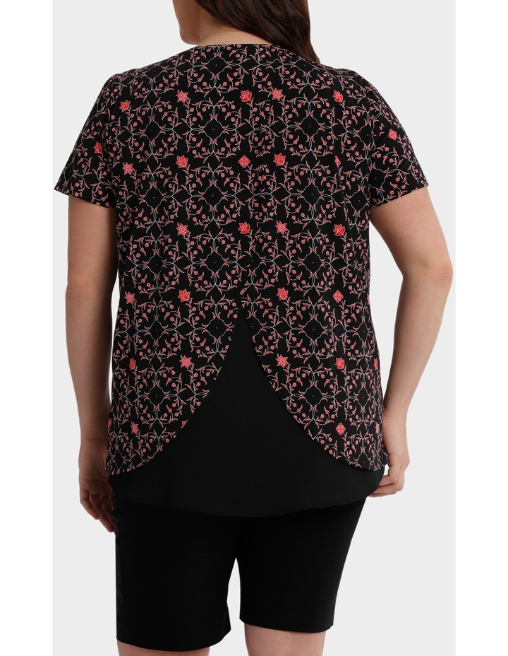Print Chiffon Layer Tunic Short Sleeve Tee image 3