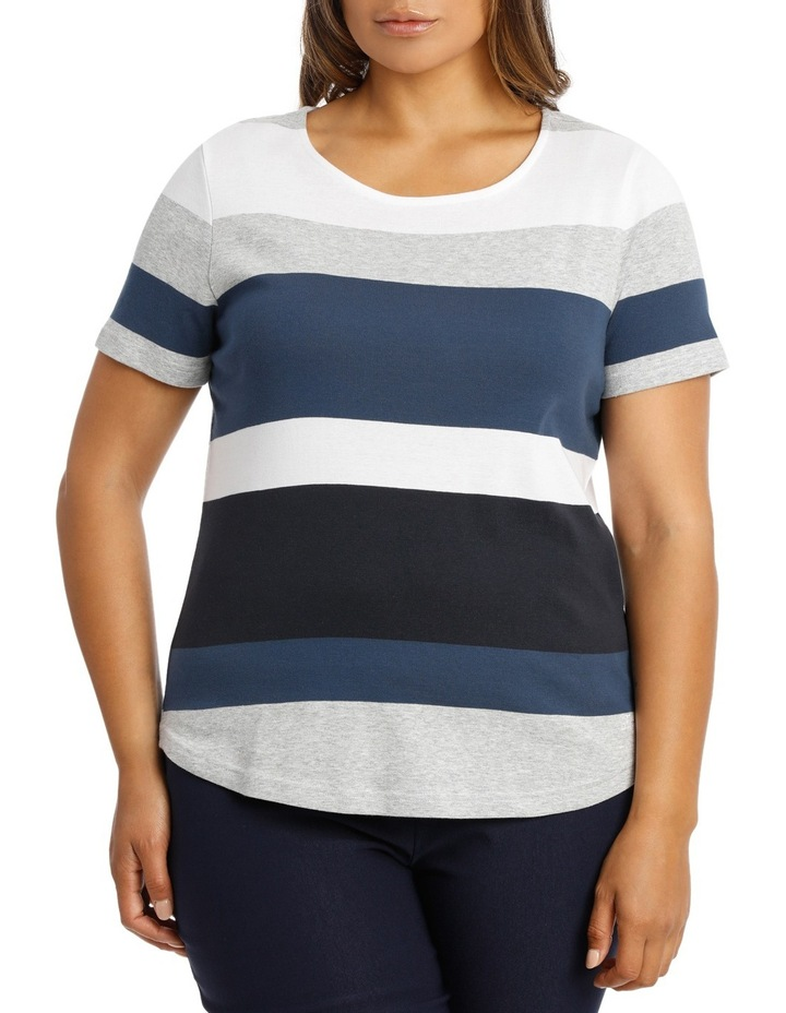 Coloured Stripe Rib S/Slv Tee image 1
