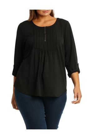 Regatta Woman - Zip Neck Pleat 3/4 Sleeve Tee