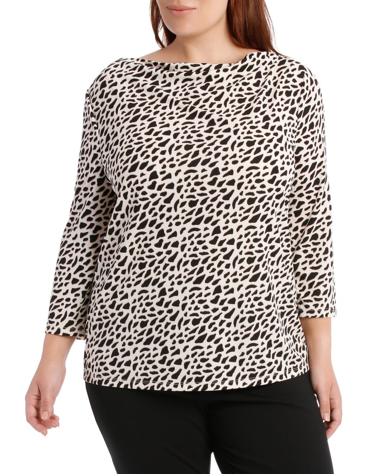 Cowl Neck 3/4 Sleeve Tee-Geo Animal Print image 1