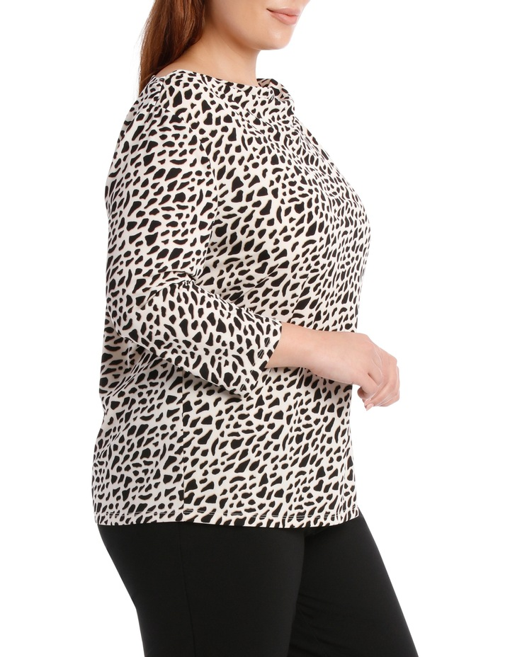 Cowl Neck 3/4 Sleeve Tee-Geo Animal Print image 2