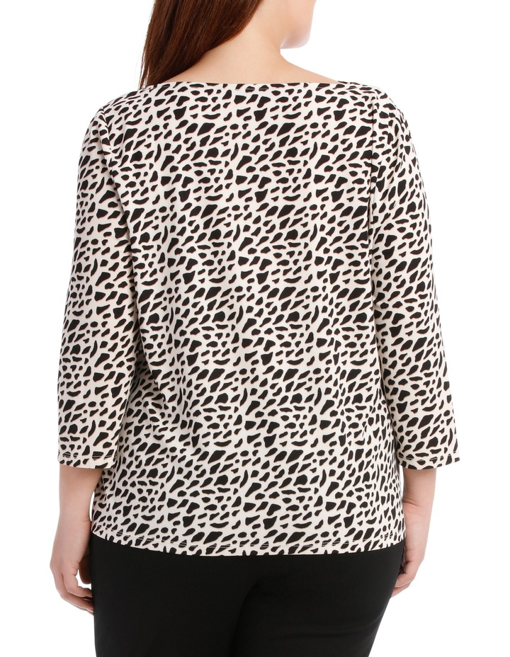 Cowl Neck 3/4 Sleeve Tee-Geo Animal Print image 3