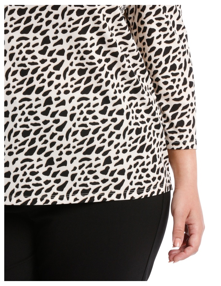 Cowl Neck 3/4 Sleeve Tee-Geo Animal Print image 4