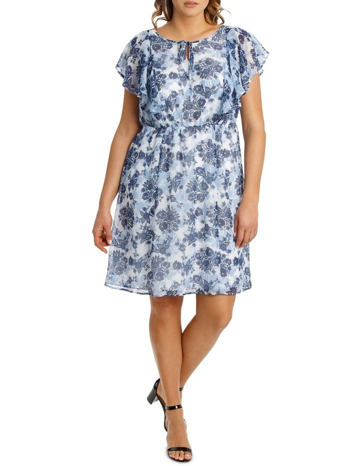 Chinoiserie Floral Flutter Sleeve Dress image 1