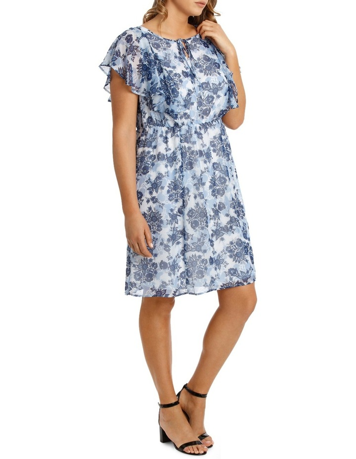 Chinoiserie Floral Flutter Sleeve Dress image 2