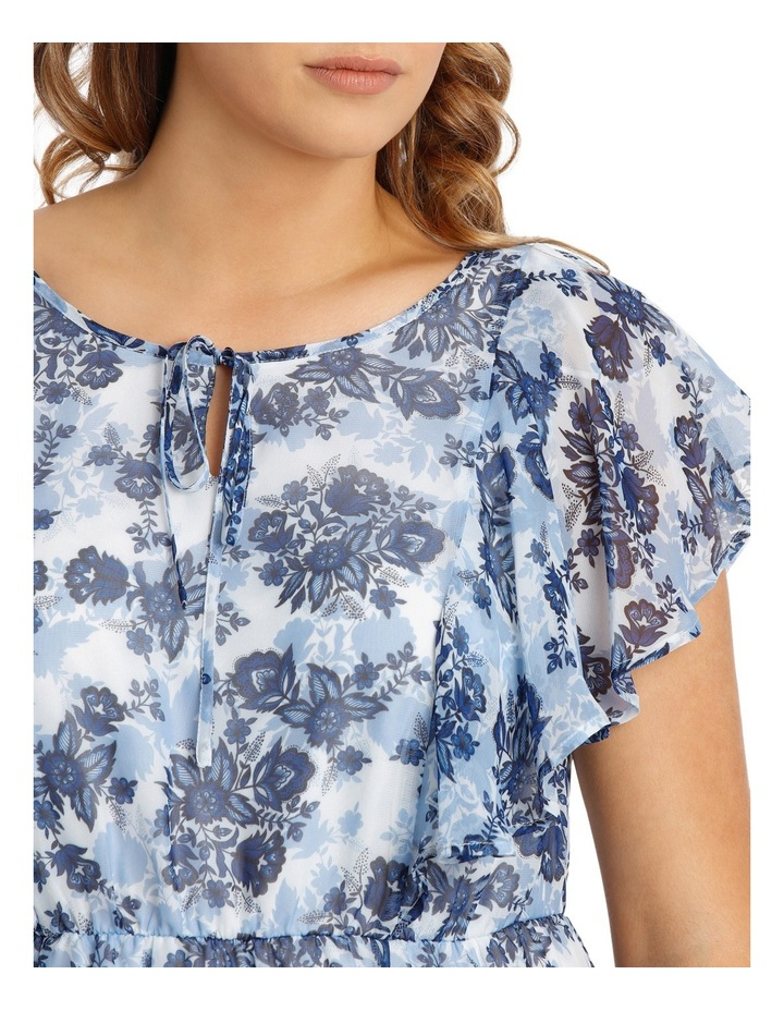 Chinoiserie Floral Flutter Sleeve Dress image 4