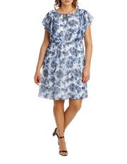 Regatta Woman - Chinoiserie Floral Flutter Sleeve Dress