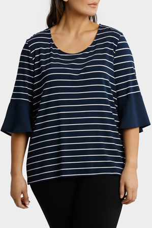 Basque Woman - Jersey Tee With Chiffon Sleeve Stripe