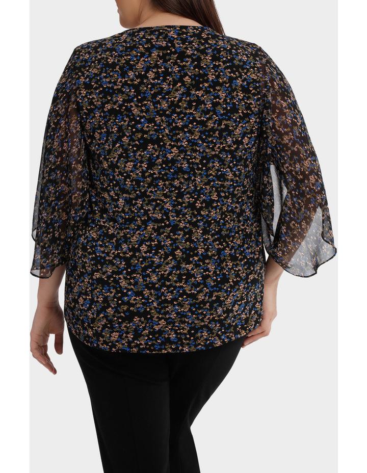 Moss Print Sheer Sleeve Jersey Top image 3