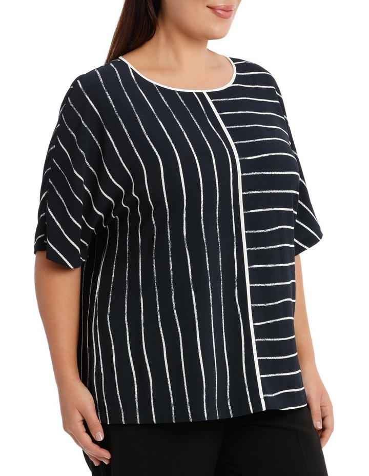 Piped Extended Sleeve Top Print image 2