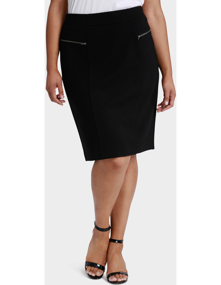 Zip Detail Ponte Pencil Skirt image 1