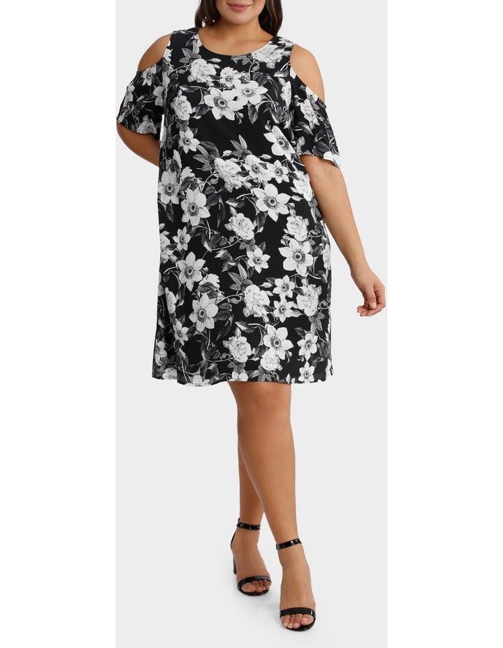 Photographic Floral Cold Shoulder Dress image 1