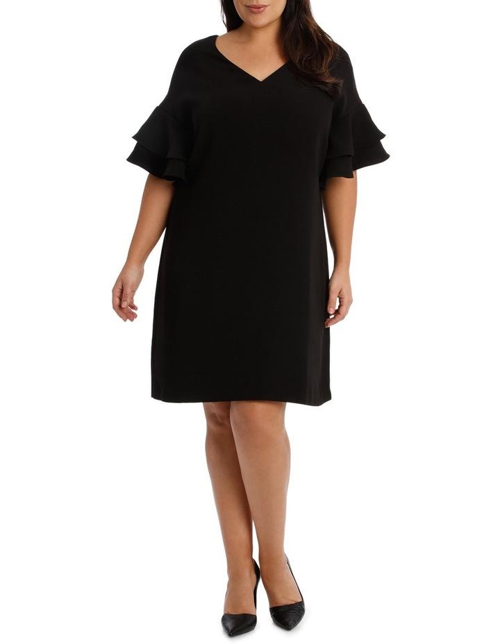 Vee Neck Drama Sleeve Shift Dress image 1