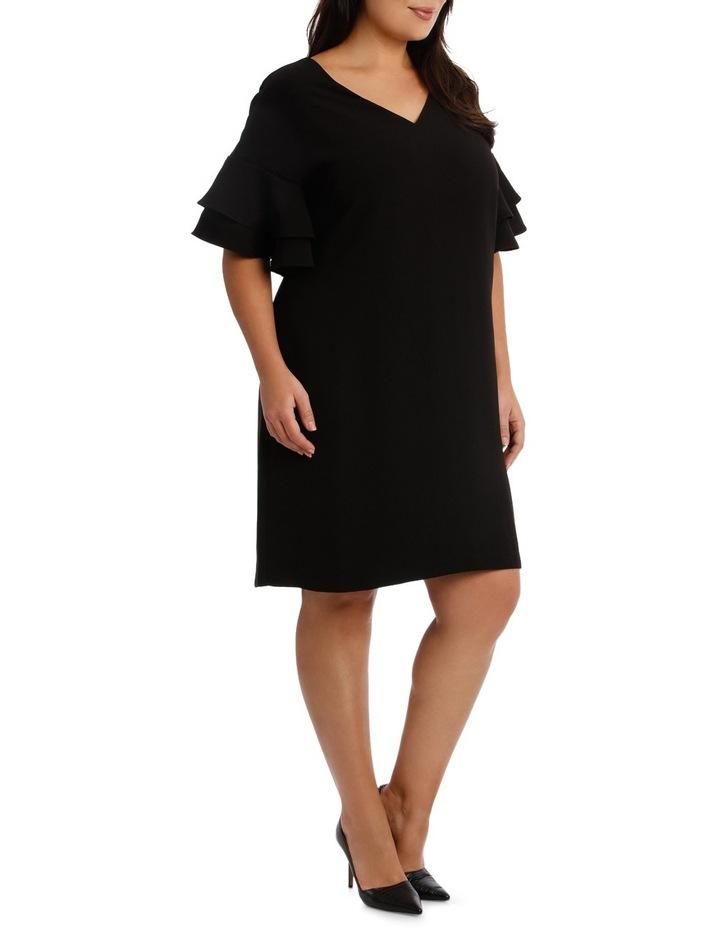 Vee Neck Drama Sleeve Shift Dress image 2