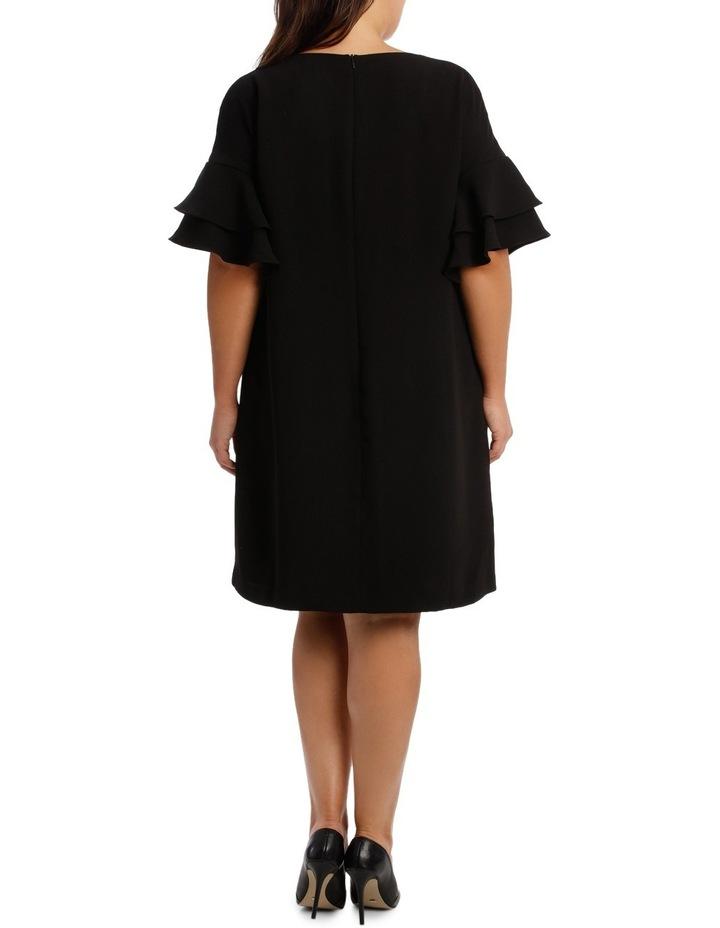 Vee Neck Drama Sleeve Shift Dress image 3