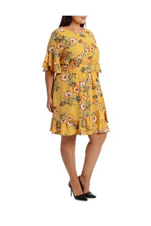 Basque Woman - Passionfruit Bloom Mock Wrap Ruffle Dress