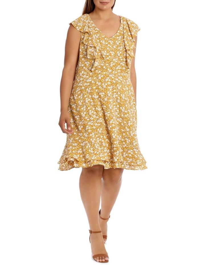 Vee Neck Vertical Ruffle Dress image 1