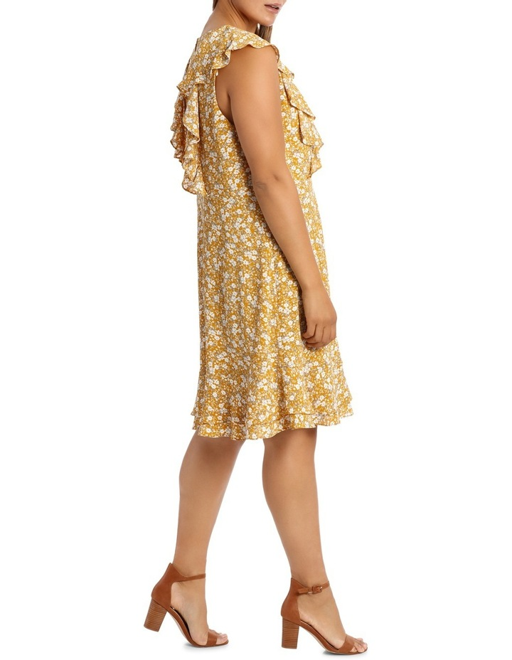 Vee Neck Vertical Ruffle Dress image 2